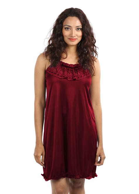 nighty dress with price klamotten beautiful nighty maroon available at infibeam