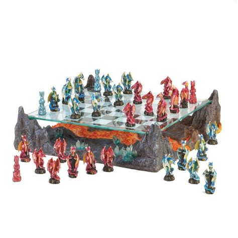 dragon chess set blue and red dragon chess set 15785147 overstock com