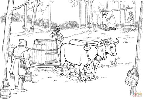 Pulling Sled With Maple Syrup Barrel Coloring Online Super sketch template