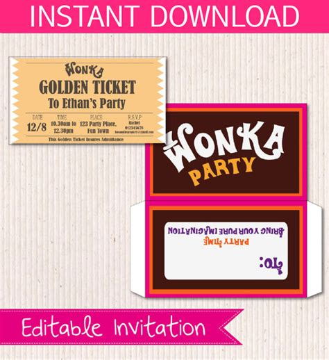 instant printable birthday invitations willy wonka birthday invite diy printable instant