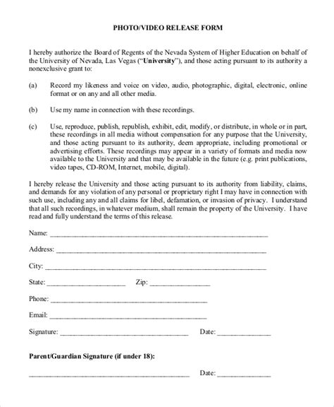 photography waiver and release form template sle release form 9 exles in pdf word