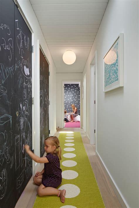 Mid Century Window Trim splashy hallway runners in hall traditional with desk nook