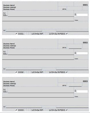 Blank Check Template Deposit Form Check Printing Template Excel