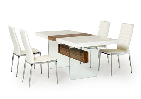 moderne esstische white and walnut floating extendable dining table dallas