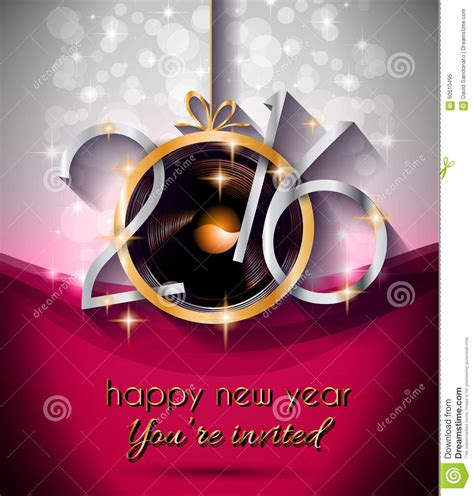 new year 2016 reception activities 2016 and happy new year flyer stock vector