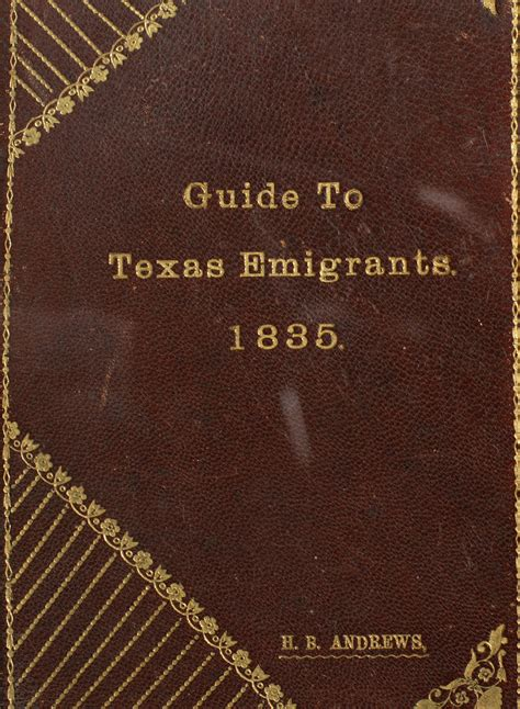 guide to texas emigrants page front cover the portal
