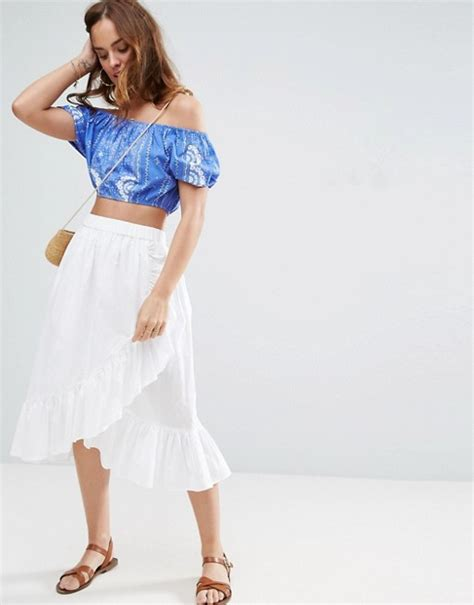 asos asos wrap midi skirt in cotton with ruffle hem