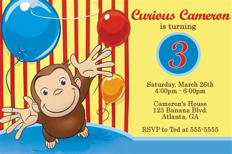 staggering curious george birthday party invitations