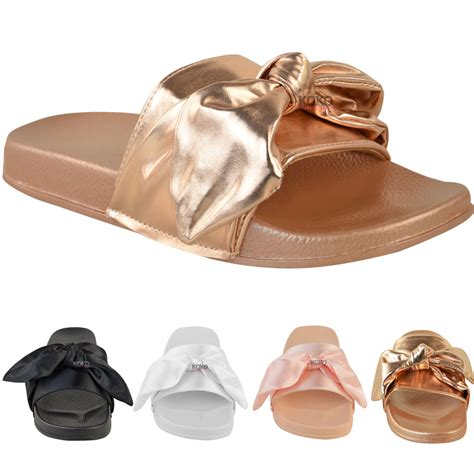 Satin Sandals Wedding by Womens Comfy Flats Bow Sliders Satin Wedding Bridal