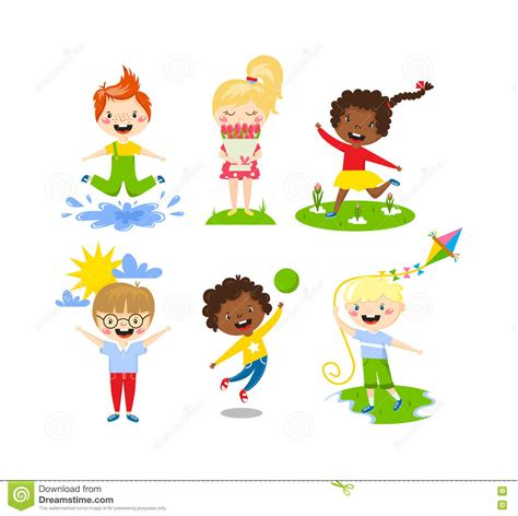 picture illustration summer kids vector illustration stock vector image
