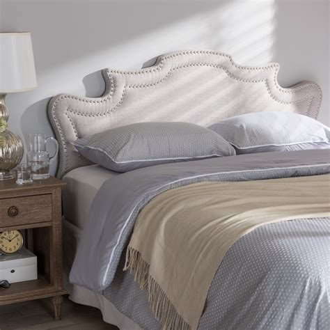 fabric full size headboard baxton studio debbie modern and contemporary greyish beige