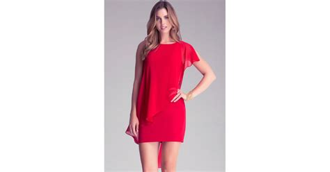 asymmetric drape dress bebe asymmetric drape dress in red lyst