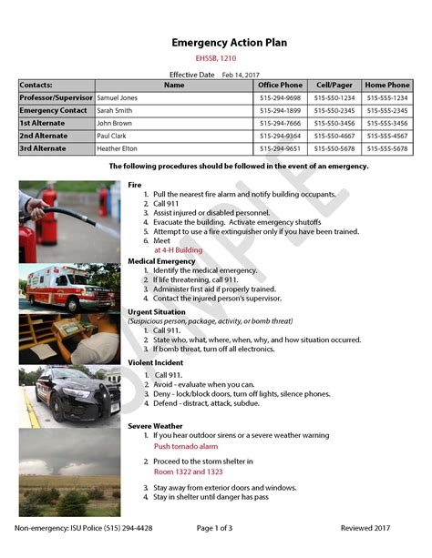 emergency action plan template plan provided by kevin ian medical