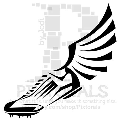 running shoes with wings clipart winged running shoe clipart 15