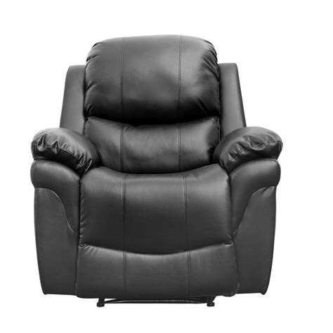 Real Leather Recliner Sofa Black Real Leather Recliner Armchair Sofa Home Lounge Chair Reclining Ebay