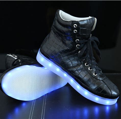 Hello Led Black Shoes Medium Size 2015 high top led sneakers usb charging lights shoes black light up led shoes for adults glow