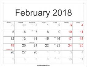 Calendar 2018 Pdf In February 2018 Calendar Printable With Holidays Pdf And Jpg