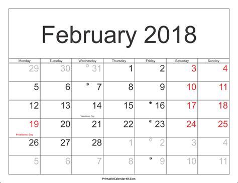 printable calendar for 2017 and 2018 february 2018 calendar printable with holidays monthly
