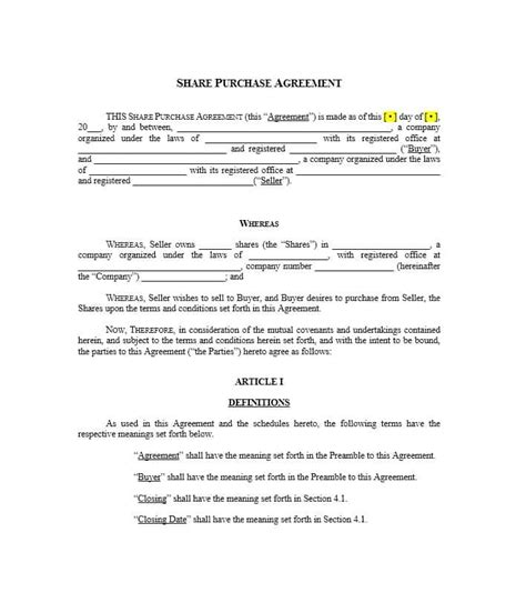 37 Simple Purchase Agreement Templates Real Estate Business Simple Purchase Agreement Template