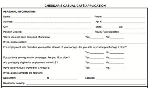 cheddar s casual cafe application online job employment form
