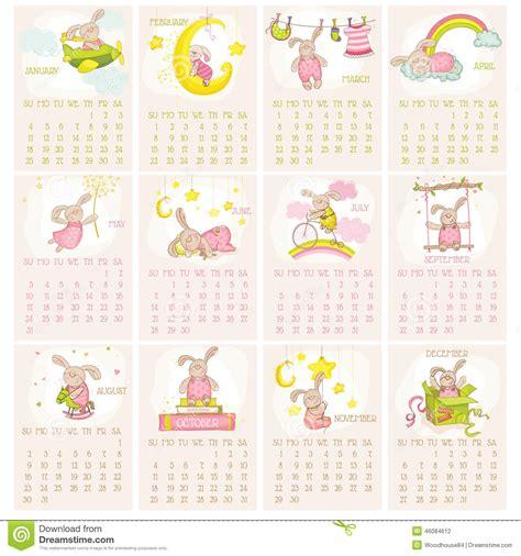 Baby Calendar 2015 Baby Bunny Calendar 2015 Stock Vector Image 46084612