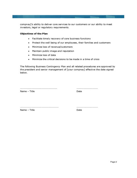 business contingency plan format sle business continuity plan template free download