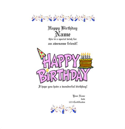 happy 30th birthday card template birthday gift certificate templates 16 free word pdf