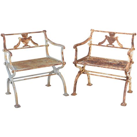 pair of 19th century iron garden chairs by karl friedrich