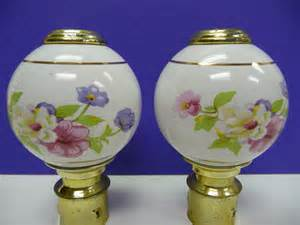 Drapery Toppers Two Porcelain Bed Post Finials Vintage Pair Floral