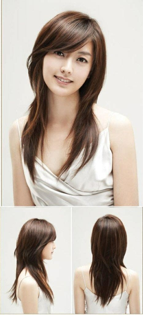 l9ng hair with swoop layers and caramel highlights hair pinterest long