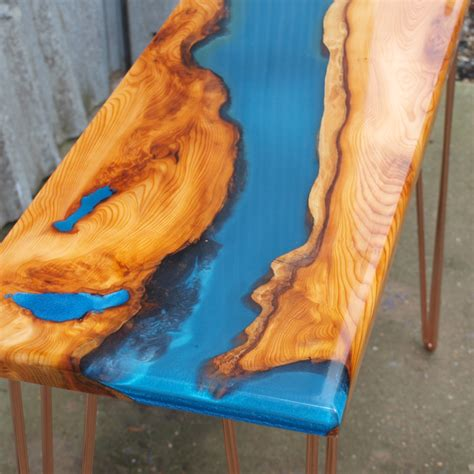 Copper Coffee Table Live Edge Yew Wood Amp Blue Resin River Console Table