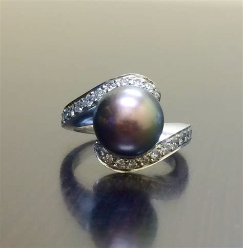 18k white gold deco black pearl engagement ring