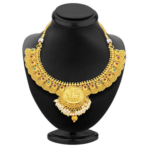 buy crystal jewelry sets onlinelaxmi coin setsearrings buy cluster laxmi coin temple gold plated necklace set for