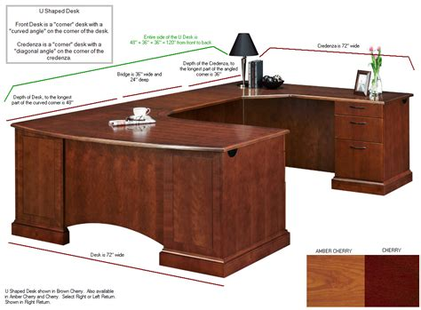 Large Corner U Shaped Desk With Corner Credenza Large Desk