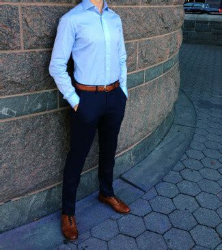 Blue Dress Shirt Black Brown Shoes by S Blue Dress Shirt Navy Chinos Leather Oxford