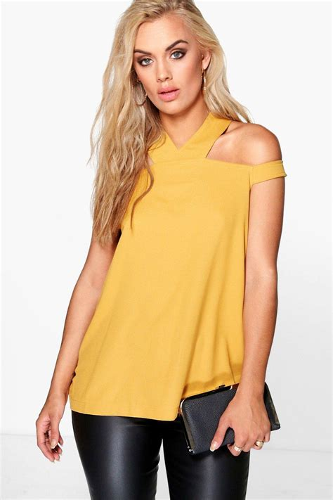 Zoe Top boohoo womens plus zoe open shoulder halter neck woven top