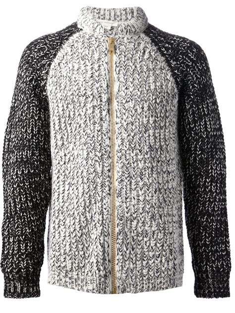 chunky knit cardigan marc chunky knit cardigan in gray for grey lyst