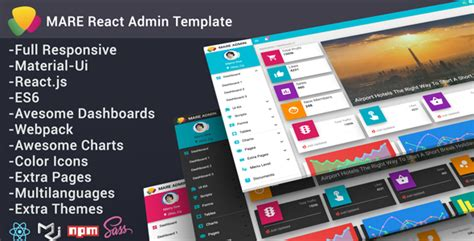 Mare Admin Material React Admin Template By Yellowred Themeforest React Web Page Template