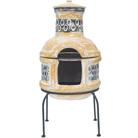 Chiminea With Grill clay chiminea barbecue la hacienda pedro chiminea with bbq grill 29 quot high ebay