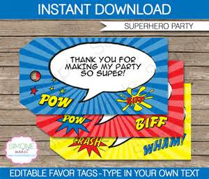 superhero party favor tags template thank you tags