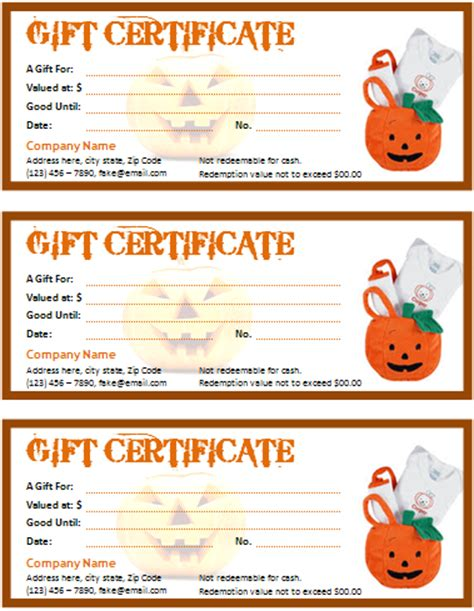halloween gift certificate apache openoffice templates