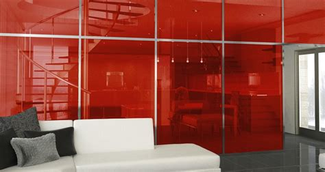 colored architectural glass flame red bendheim