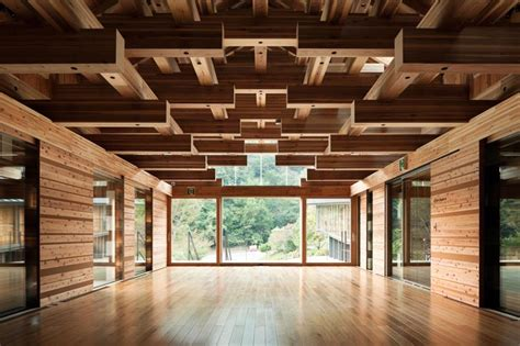 wood architecture the yusuhara wooden bridge museum complements its forested