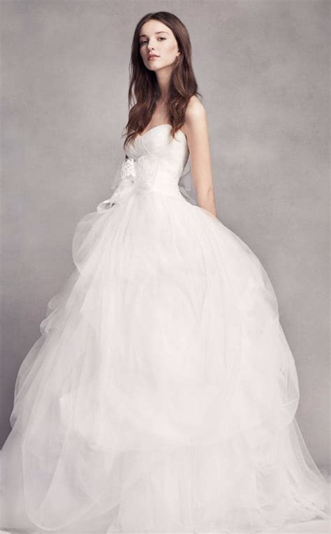 White Gown Tulle strapless tulle ballgown wedding dress from white by vera