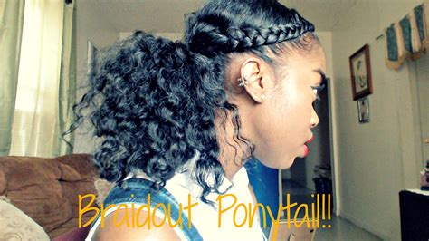 two braids goung into a ponytail natural hair natural hair braidout ponytail tutorial youtube