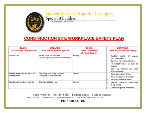 24 Images Of Site Safety Plan Template Leseriail Com Site Security Plan Template