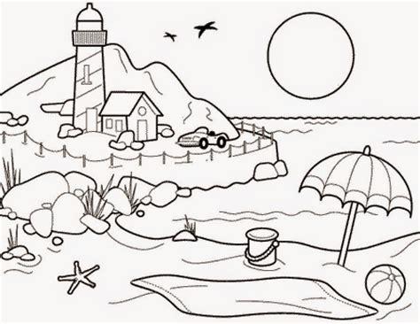 sketsa gambar pemandangan tepi laut bahasapedia bahasapedia