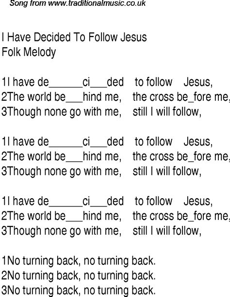 i decided to follow jesus christian gospel song