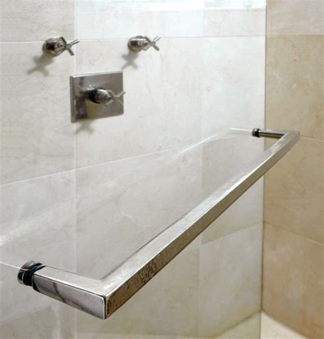 Glass Shower Door Towel Bar Rail Towel Bar Tb5 Thru Bolt Mounted To A Plate Glass Shower Door With Cover Caps