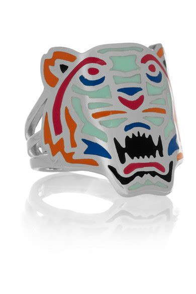 kenzo tiger enameled silver ring net a porter